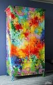 Splatter painted dresser. Super colorful. Diy furniture.