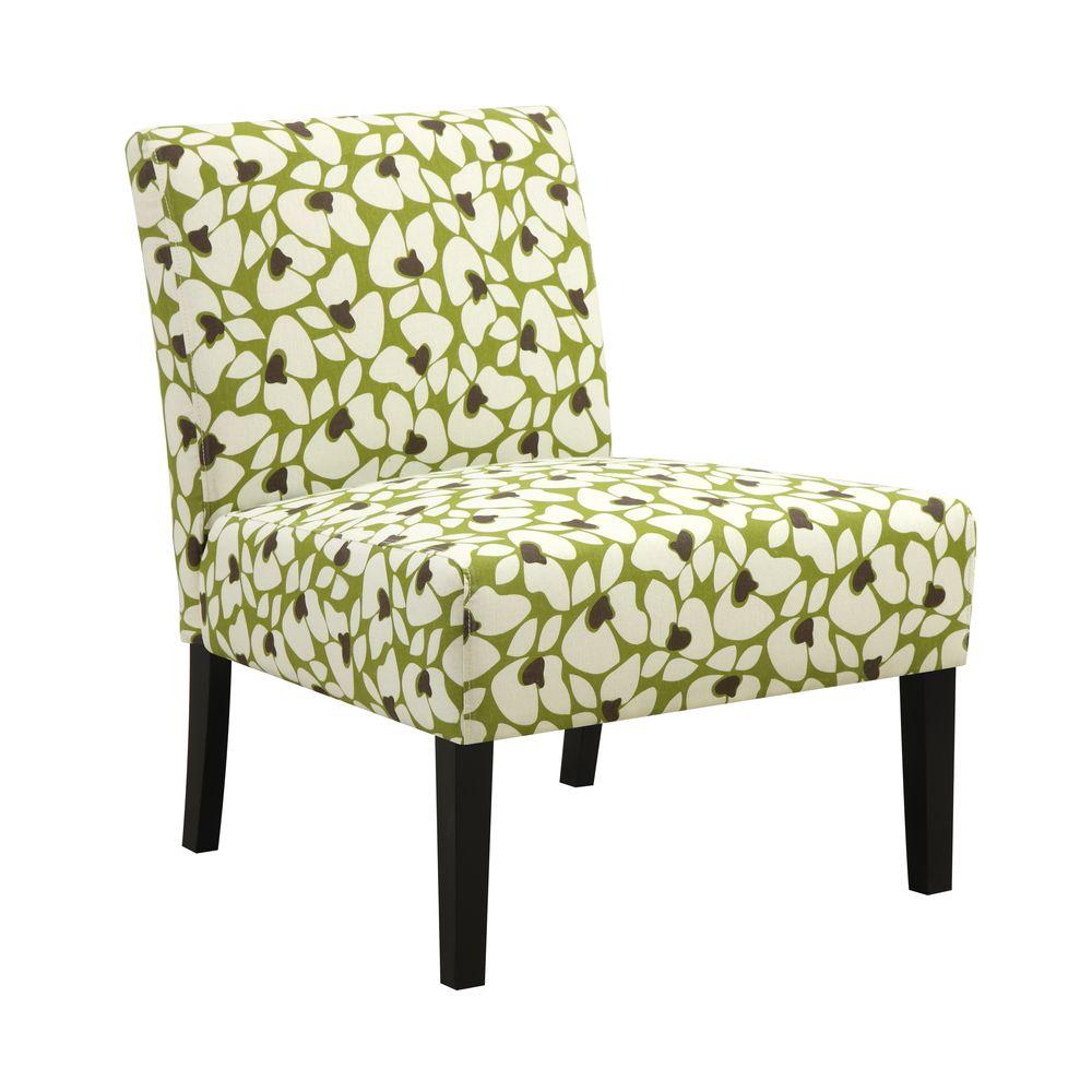 Portfolio Niles Apple Green Modern Floral Armless Accent Chair ...