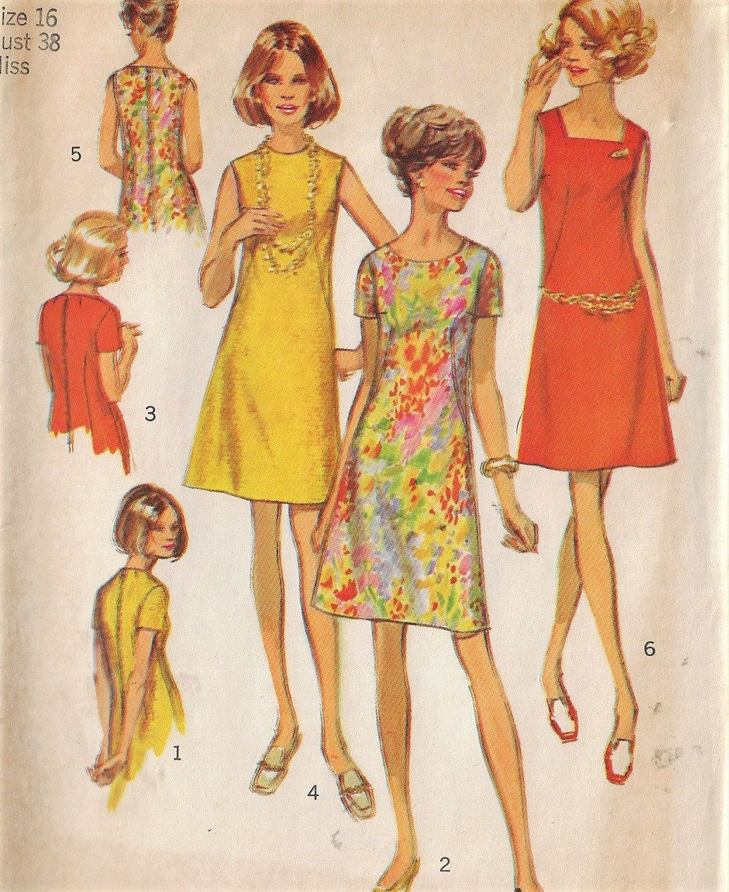 1970s Simplicity Sewing Pattern 8882 Womens A Line Dress With 3 Necklines Jewel Round Square Size 16 Bust 38 Simplicity Sewing Patterns Sewing Patterns A Line Dress