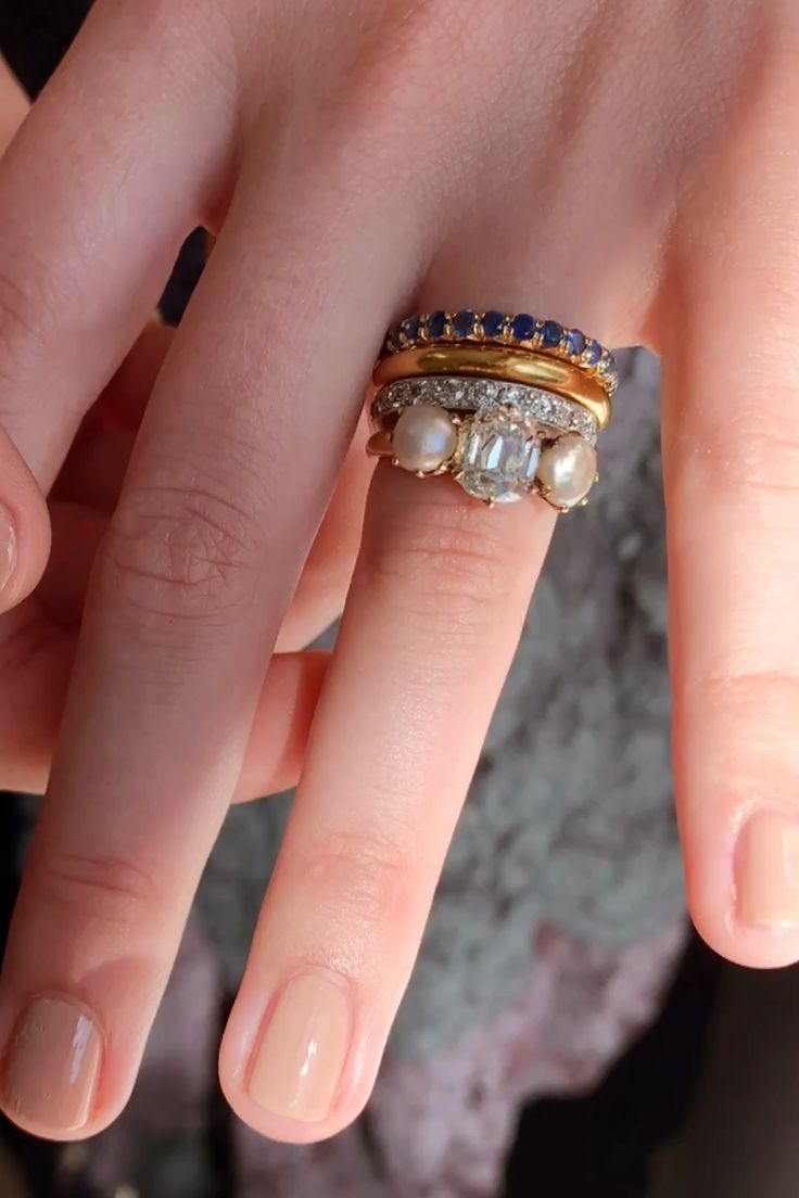 Details about  /Slice Rose Cut Pave Diamond Blue Sapphire Diainty Stackable Ring Engagement Gift
