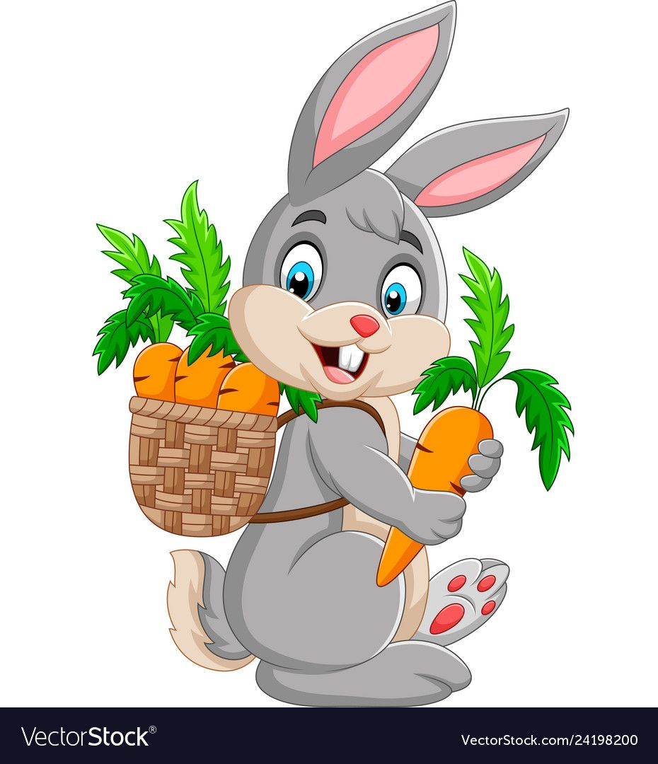 Illustration Of Easter Bunny Carrying Basket Full Of Carrots Download A Free Preview Or High Qual Art De Poulet Lapin De Paques Decoration Anniversaire Mickey