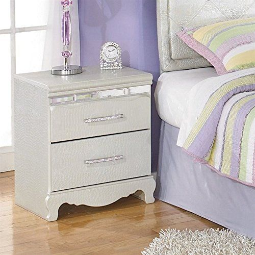 Ashley Furniture Signature Design   Zarollina Nightstand   2 Drawers   Faux  Crystal Accent Handles   Casual Kids Room   Silver