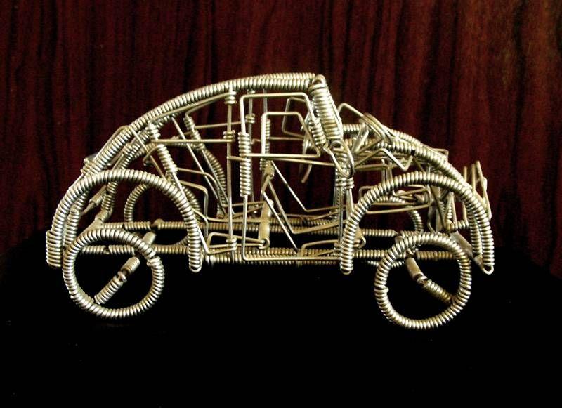 Unusual Volkswagen Beetle Car Model Made of Metal Wires/Coils ...