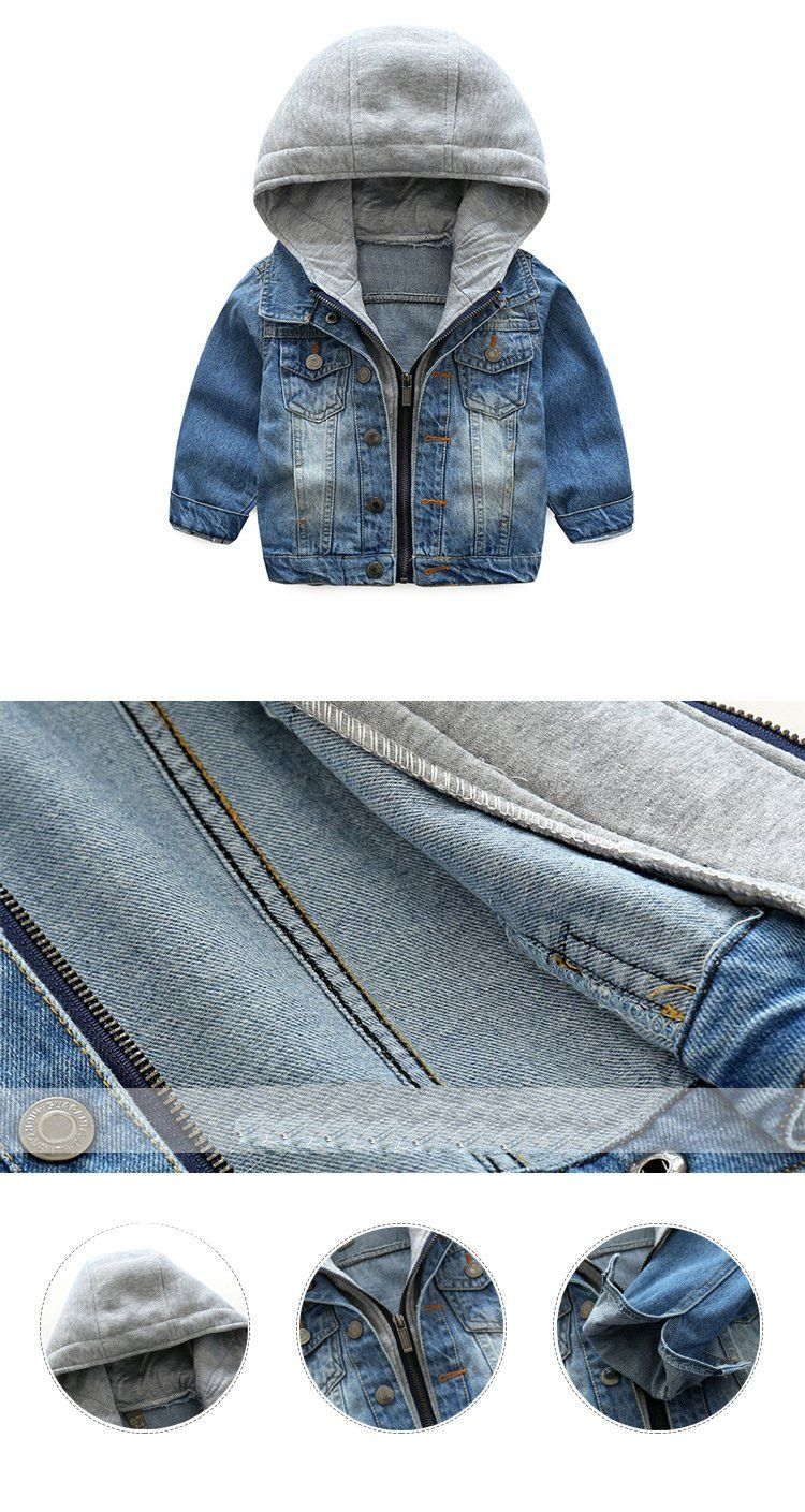 70ba94fa1 New Spring and Autumn Baby Boys Coat Wash Soft Denim Coat Hooded Zipper Coat  Jeans Jacket for Kids Children Clothing