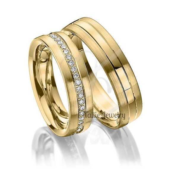 His Hers Mens Womens Matching 18k Yellow Gold Wedding Bands Rings Set 6mm Wide Sizes 4 12 Free Engraving New