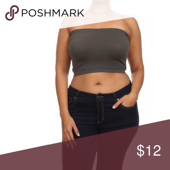 fc8e8e5d1 Plus Size Bandeau Bra Top Seamless Strapless New A must have basic that  will suit many of your wardrobe needs! Pair this strapless bandeau top  under ...