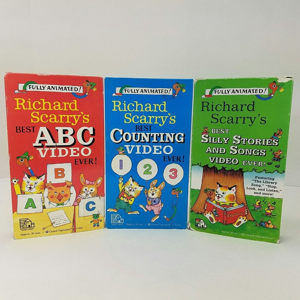 Richard Scarrys VHS Videos Lot Of 3 ABC Counting Silly
