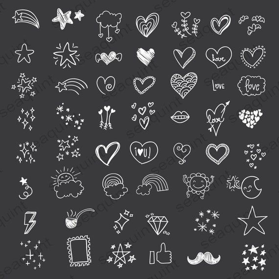 Hand drawn Heart Doodle Clipart Scribbles Doodle Clipart   Etsy