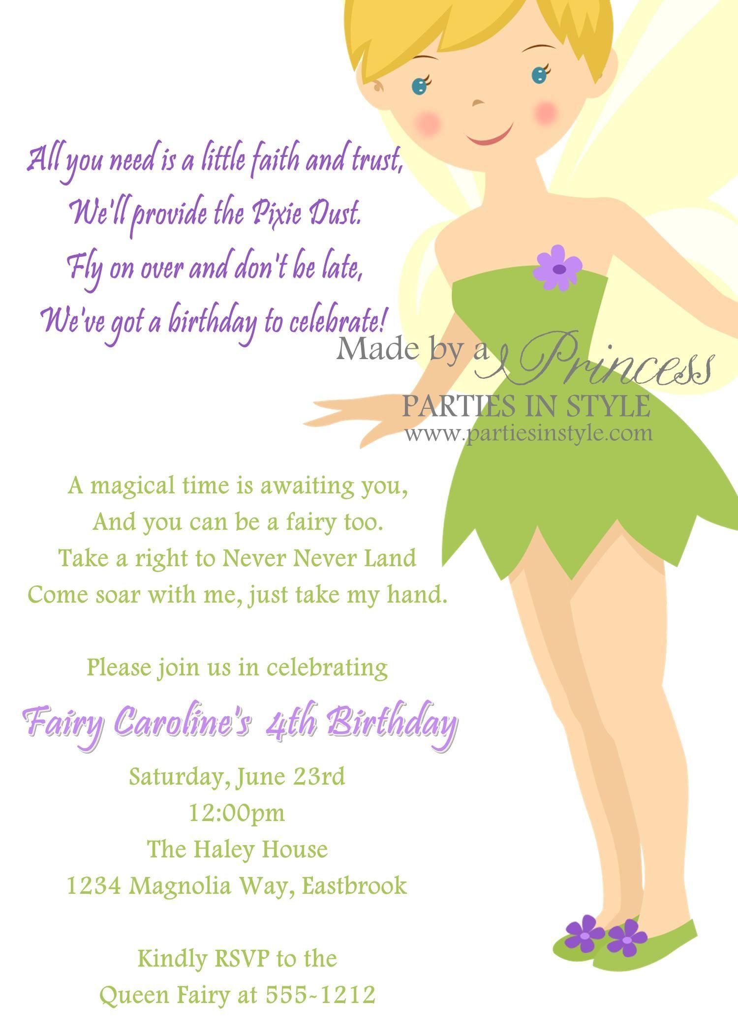 Birthday Invitation Princess Series Tinkerbell Printable DIY