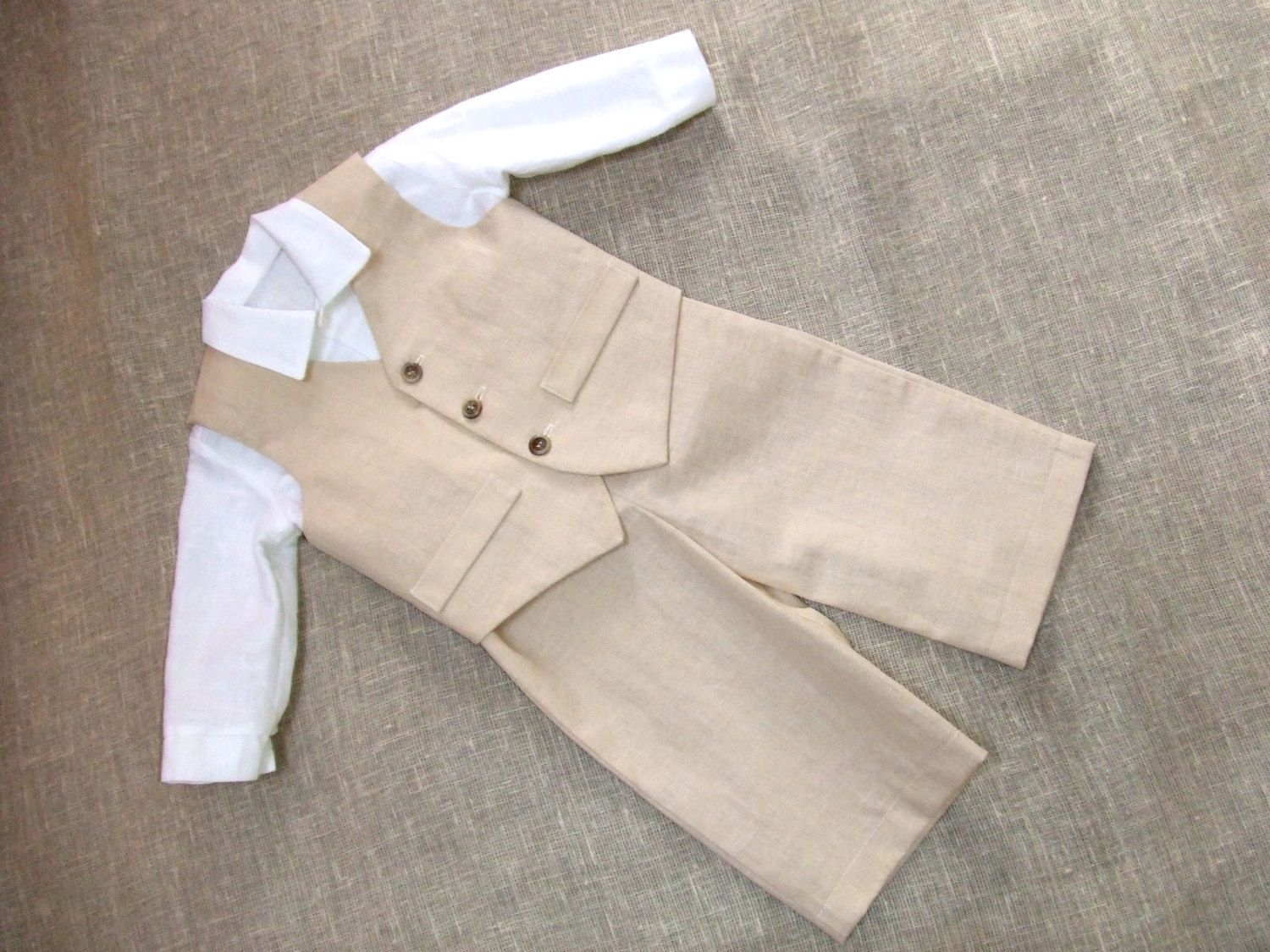 Baby boy ring bearer outfit boy linen suit kids first birthday ...