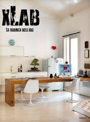 Tavolo snack da cucina in legno massello design italiano XLAB ...