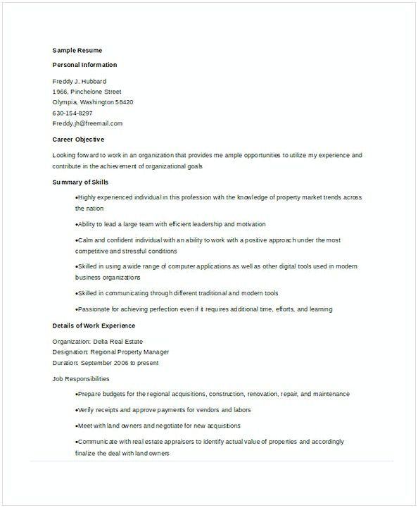 Regional Property Manager Resume  Assistant Property Manager