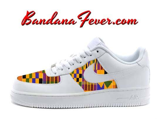 74edef1107f Custom Apremo Kente Nike Air Force 1 Shoes White Low FREE | Sneakers ...