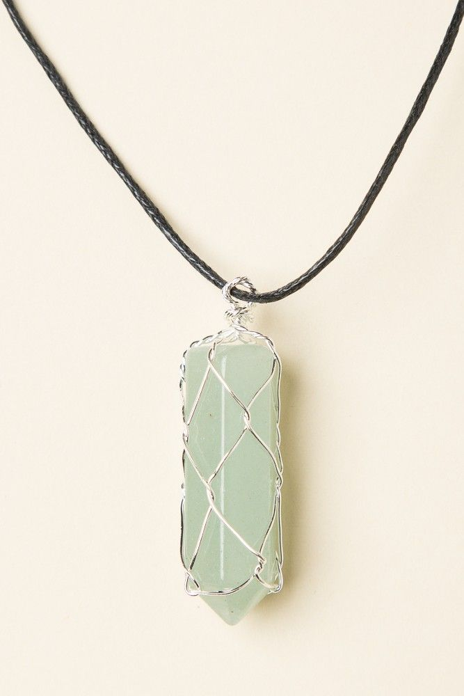 Brandy ♥ Melville | Opal Stone Charm Cord Necklace - Accessories