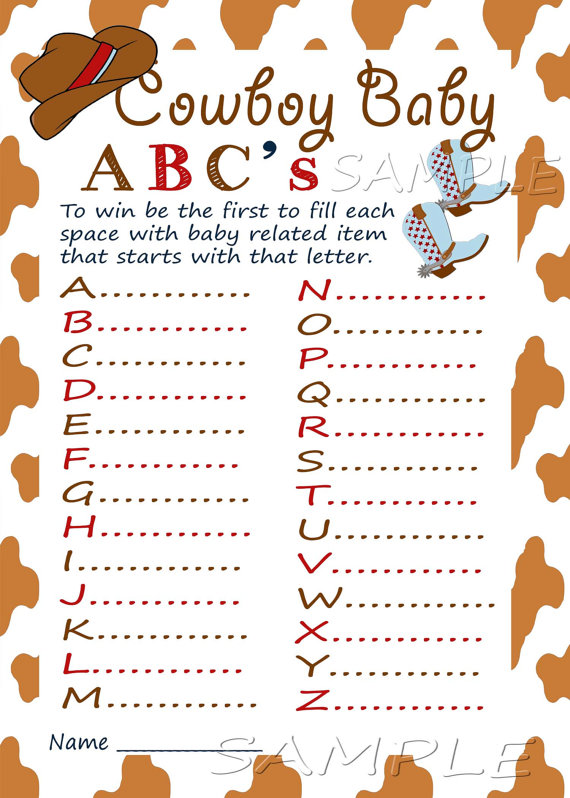 Abc Game Western Baby Shower Printable Baby Shower Game Instant
