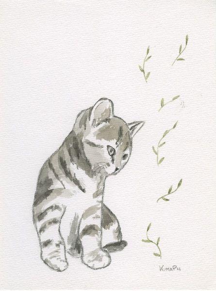 gatto con foglie illustrazione ad acquarelli di vumap su DaWanda.com