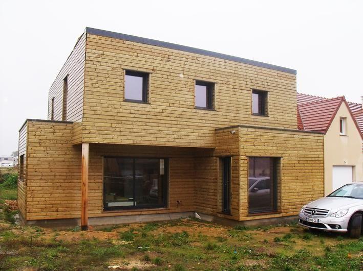 maison cubique en ossature bois de fabrication française - Maison - maison bois en kit toit plat