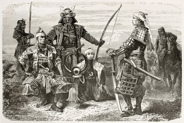 Vintage drawing representing a group of samurai