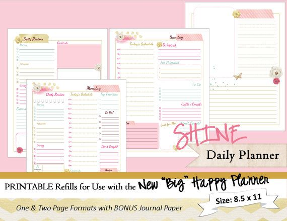 Big Happy Planner Printable Daily Calendar Inserts  Refills  Pdf