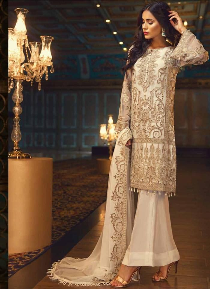 bd932143ae Original outfit by Jazmin (Baroque) Perle D'eau Collection 2018 Three piece  embroidered pure chiffon suit stitched with lining as well.
