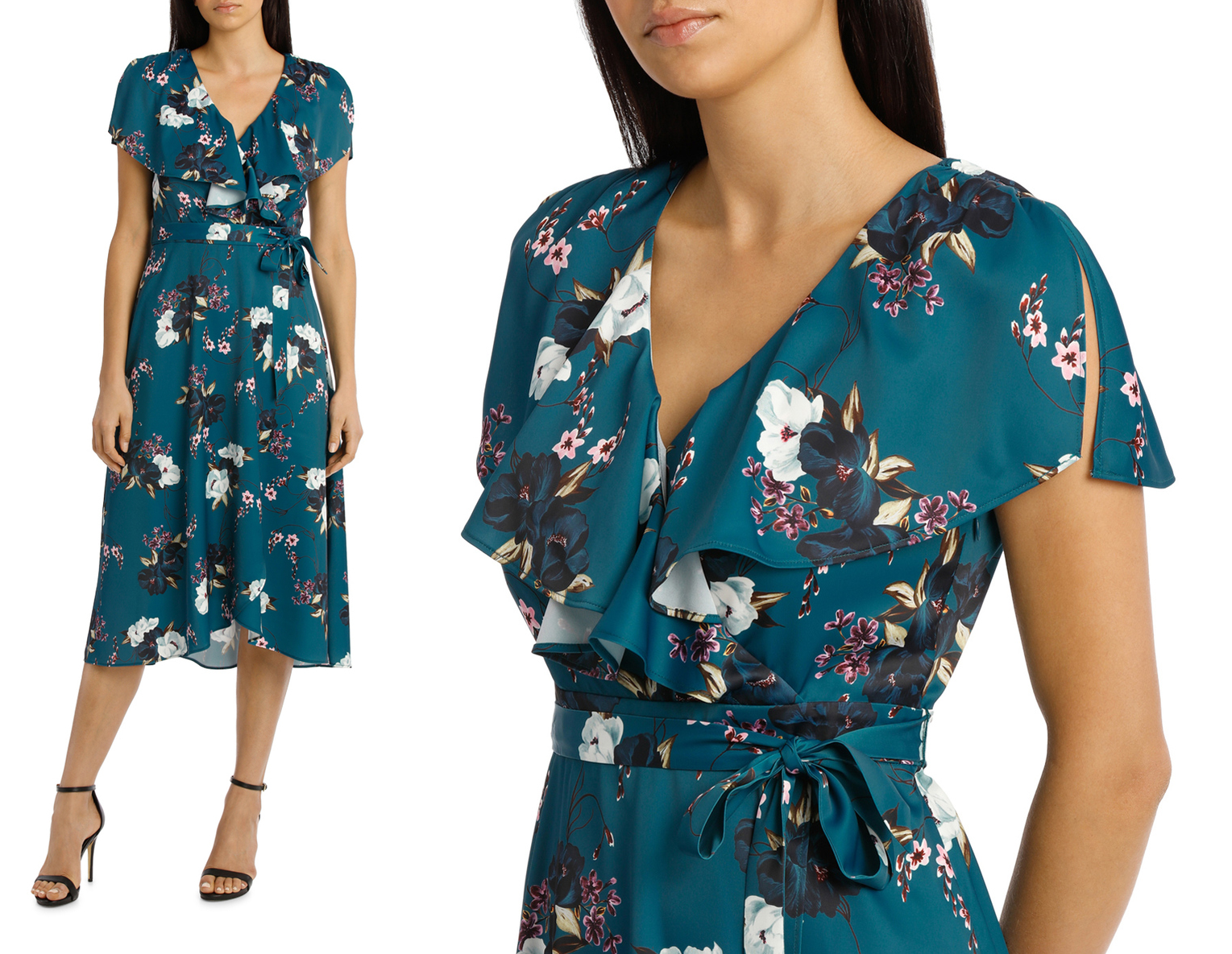 0c482a4fee57 Turquoise satin midi dress with white and grey flowers. LEONA BY LEONA  EDMISTON Teal Carnation Wrap Flutter Sleeve Midi Dress was  189.95 now   132.96.