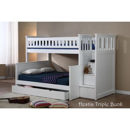 Single Over Double Bunk Bed In L Shape Configuration Alternative Way Of Setting It Up Than Usual Stacked Version Bunk Beds Kids Bunk Beds Kid Beds