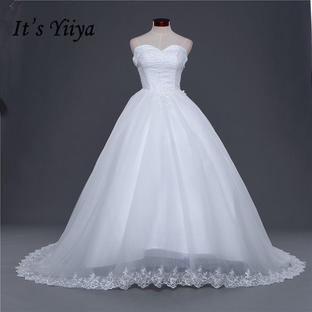 Wedding dresses com  New Strapless Lace Trailing Wedding Frocks White Quality Train