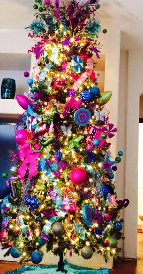 Decoracion con figuras de unisel en formas de caramelo focos lleno de color christmas tree - Decoracion con caramelo ...