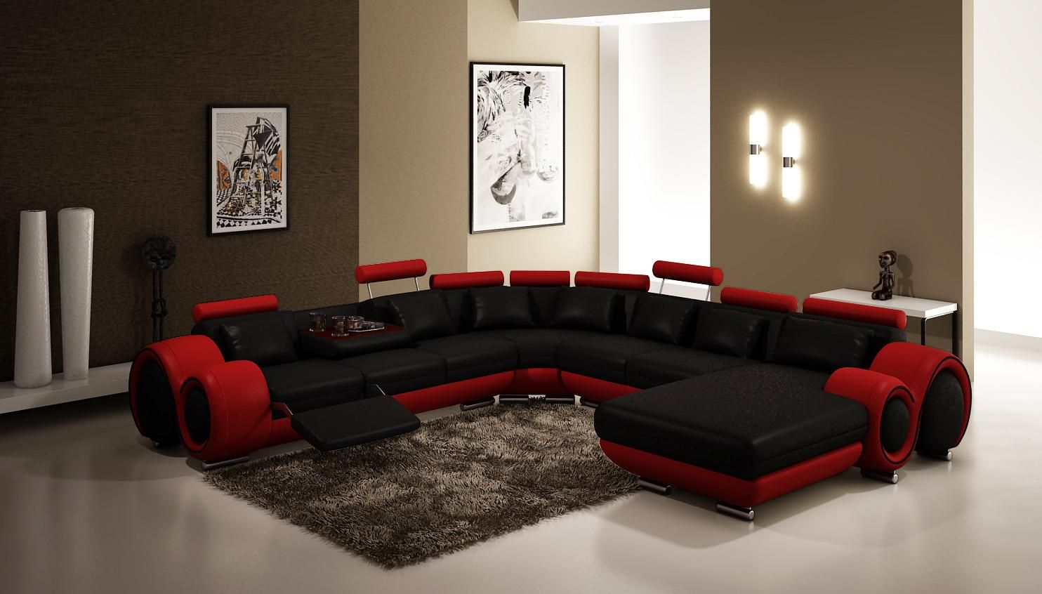 4084 Sectional Sofa With Recliners In Black And Red Leather Furnituregallerynyc Com