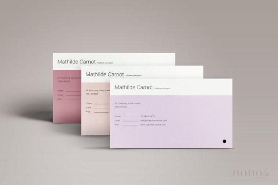 Simple Business Card Template 3pk Minimal Design Clean Personal Feminine Ca