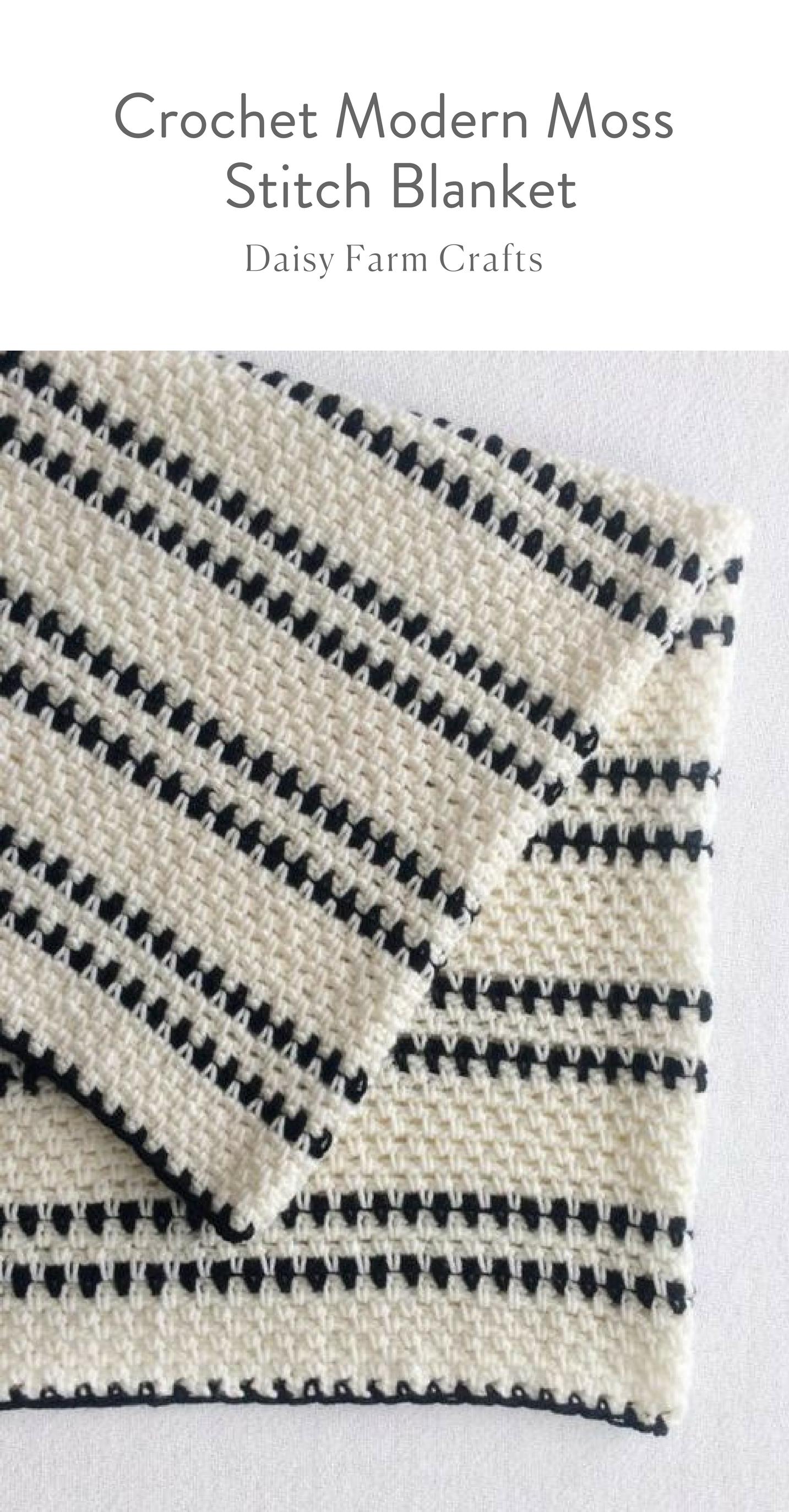Free Pattern - Crochet Modern Moss Stitch Blanket | chicks with ...