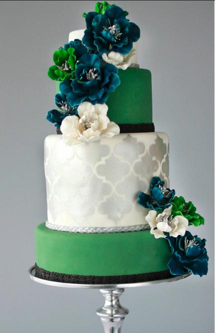 Modern silver and emerald green jewel tone wedding cake,love