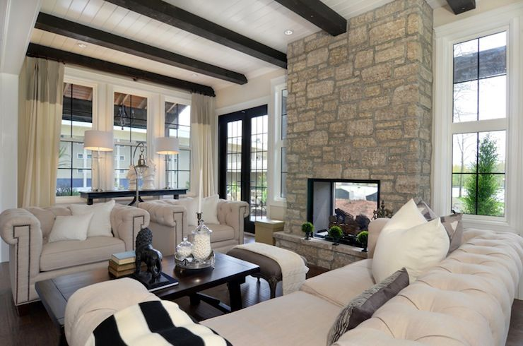 Jillian Harrisliving Rooms  Floor To Ceiling Fireplace  I Am A Inspiration Wooden Ceiling Designs For Living Room Decorating Inspiration