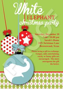 White Elephant Christmas Party Invitation My Party Printables - White elephant christmas party invitations templates
