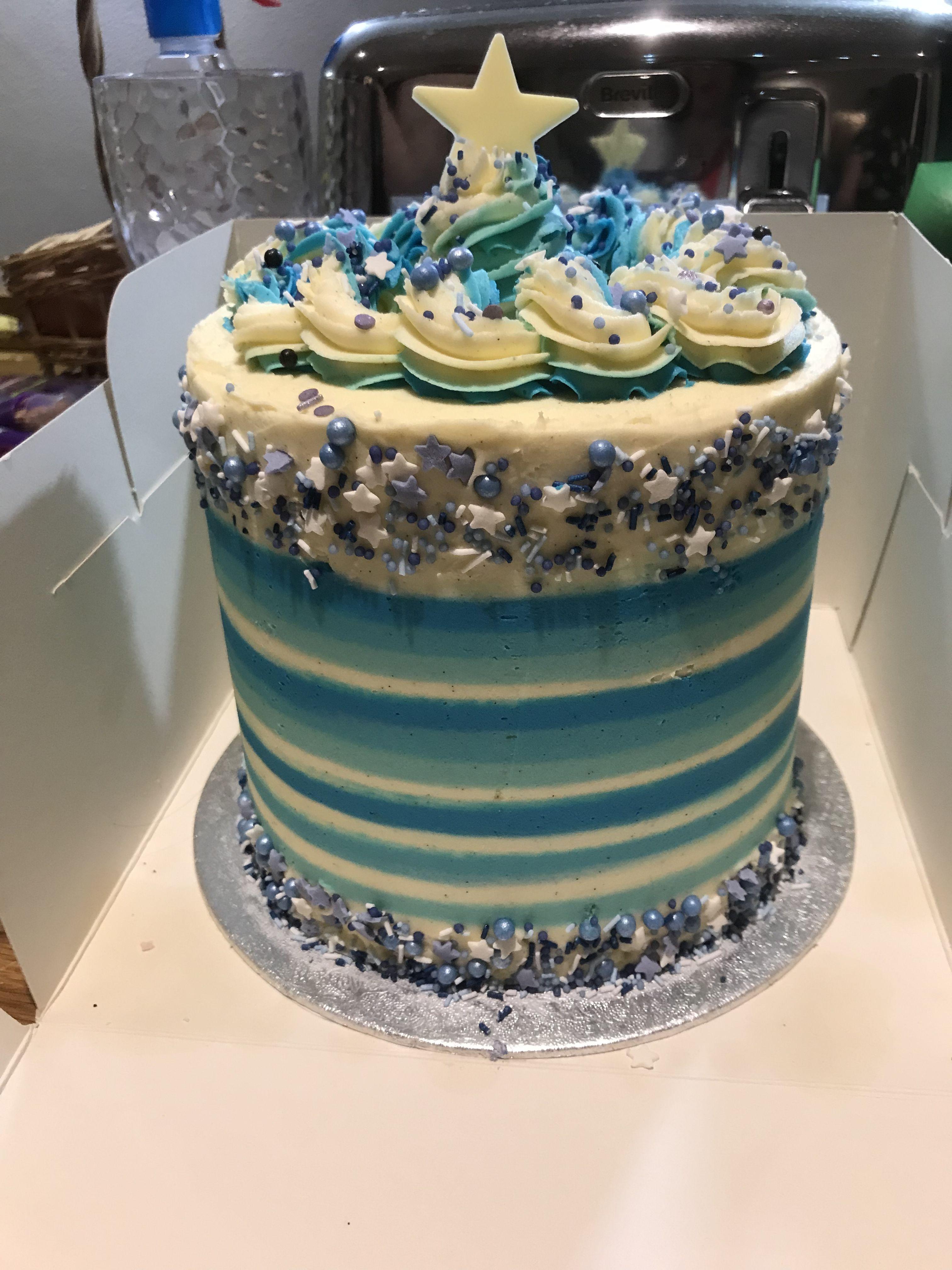 Buttercream Cake Blue Stripes Sprinkles Birthday Cake For Boys