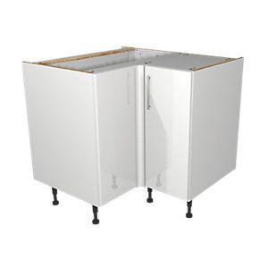 Best Wickes Orlando White Gloss Slab Corner Base Unit 925Mm 640 x 480
