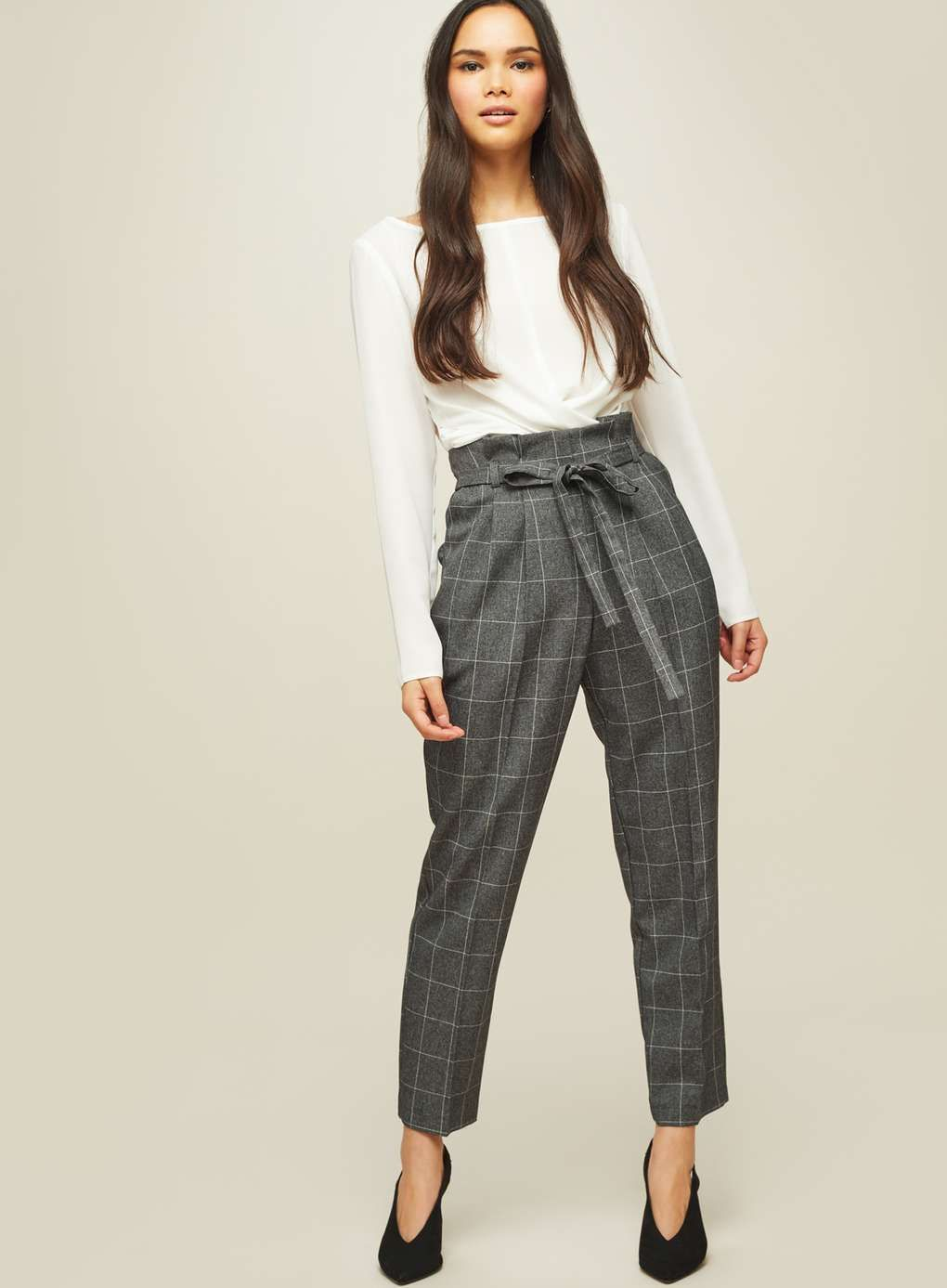2e786bbe7dcba2 Grey Checked Paper Bag Trousers - View All - New In