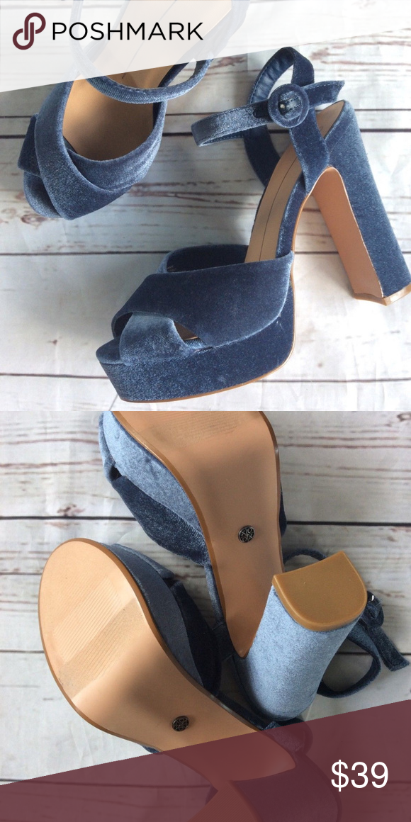 Blue Velvet Chunk Block Heel Size 9 These are a beautiful almost like a medium wash denim colored ve...