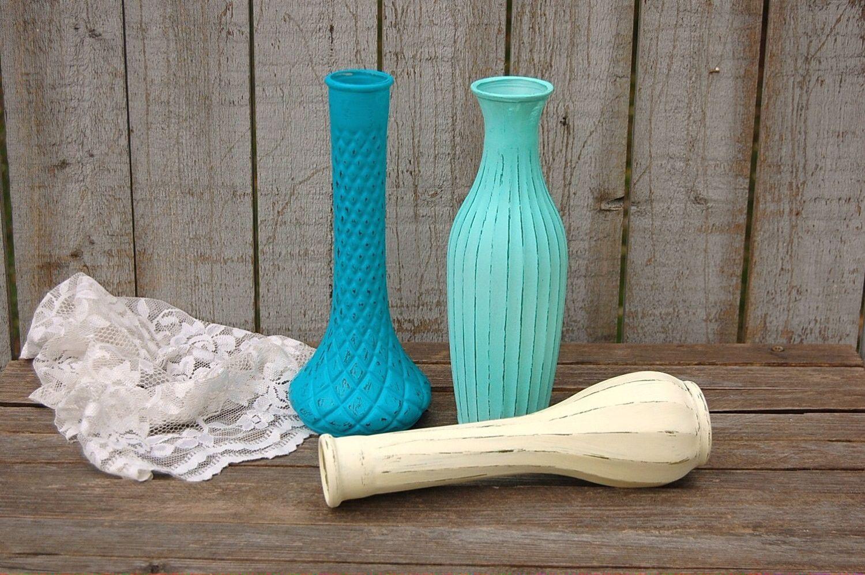 Shabby chic glass vases
