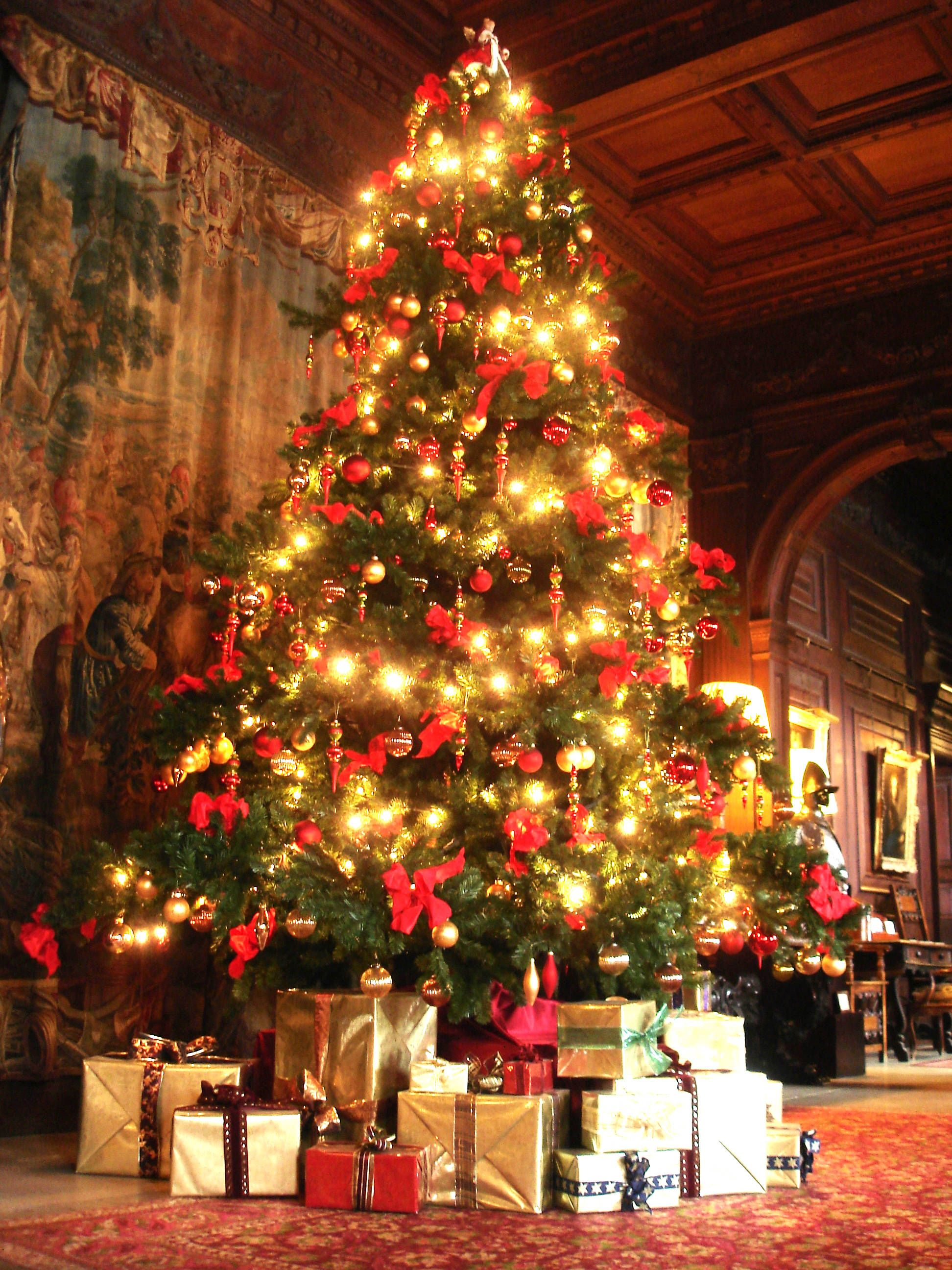 England Christmas Tree.Celebrate Christmas At A Country House In The United Kingdom