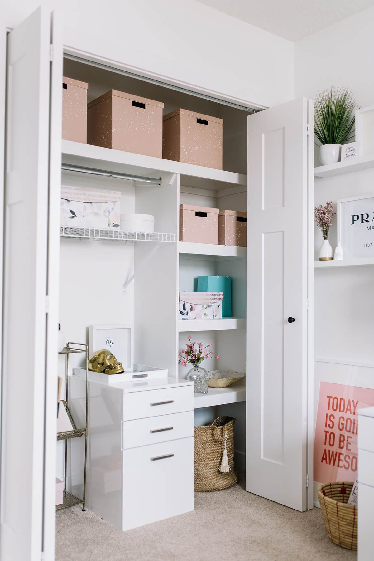 14 Genius Home Office Organization Ideas To Create The Perfect Workspace Home Office Closet Closet Office Organization Office Organization Tips