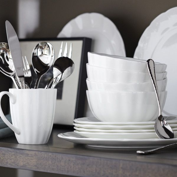 Alton 16 Piece Dinnerware Set Crafted Of White Earthenware, This Set Of  Simple, Durable