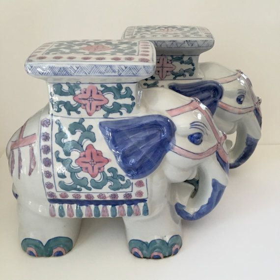 Palm Beach Chic Elephant Stool Christmas Ornament Blue and White Chinoiserie Chic