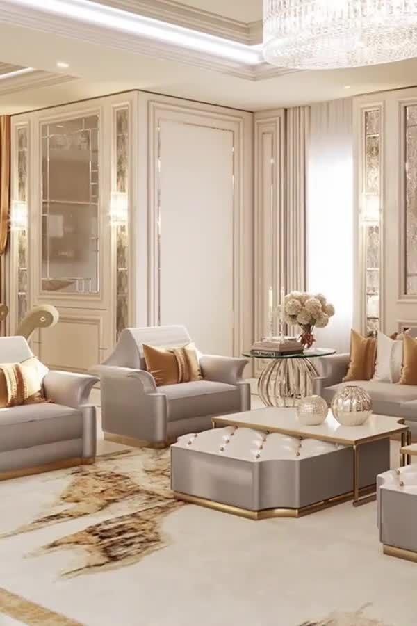 Photo of High-end large villa living room interior design videos by Spazio