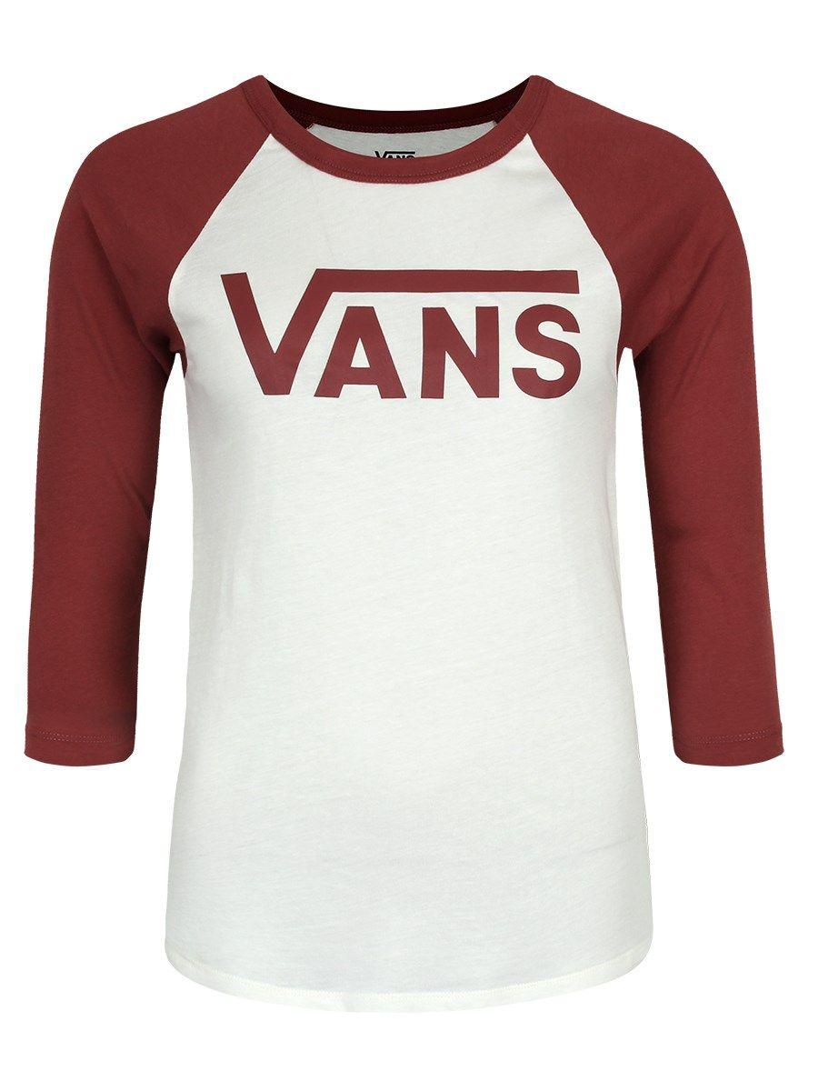 263c8879211d50 Vans Ladies Flying V Raglan T-Shirt - Marshmallow   Apple Butter ...