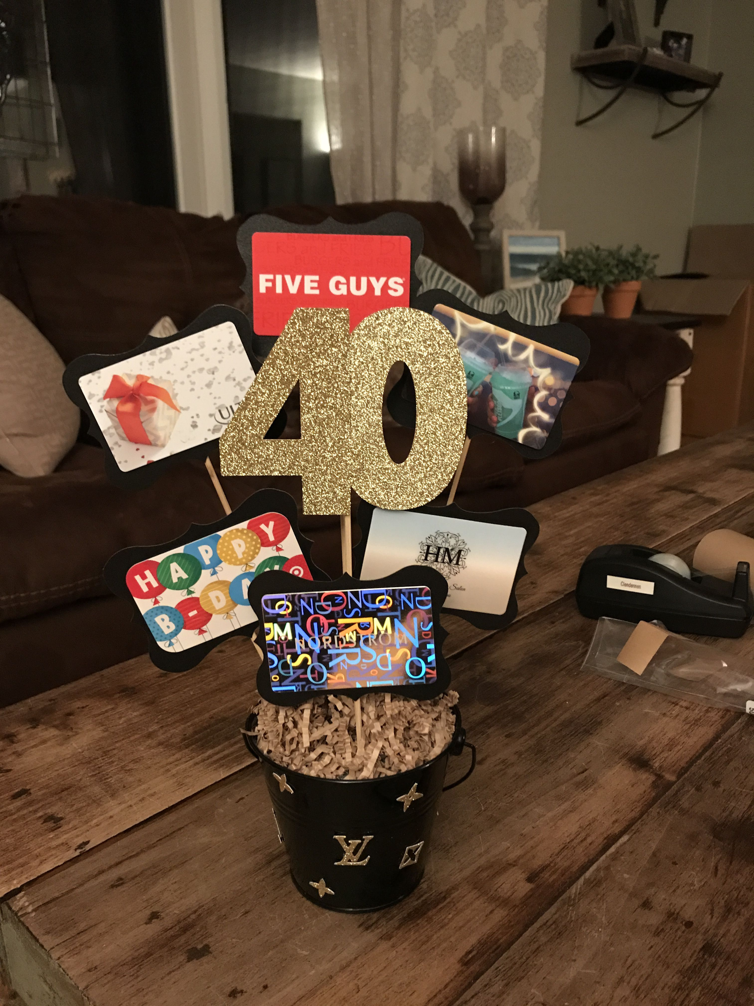 40th Birthday Gift Card Presentation Gift Card Displays Gift