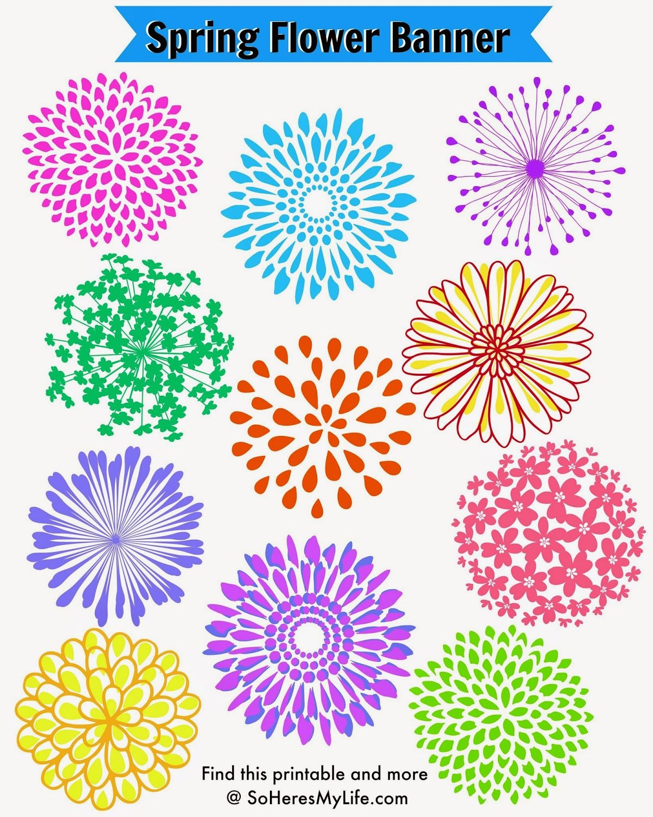 heres the perfect way to celebrate springs arrival with this free colorful printable spring flower banner print out these flowers to decorate with or
