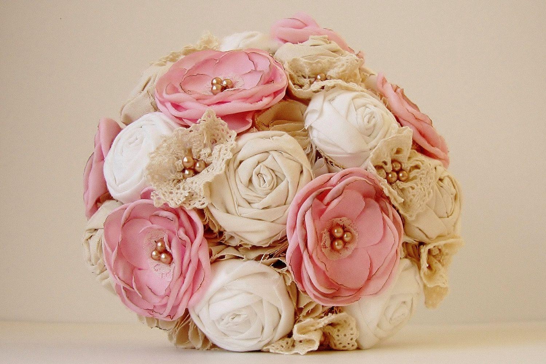 Brooch wedding bouquet vintage bridal bouquet fabric flower flower vintage bridal bouquet fabric izmirmasajfo