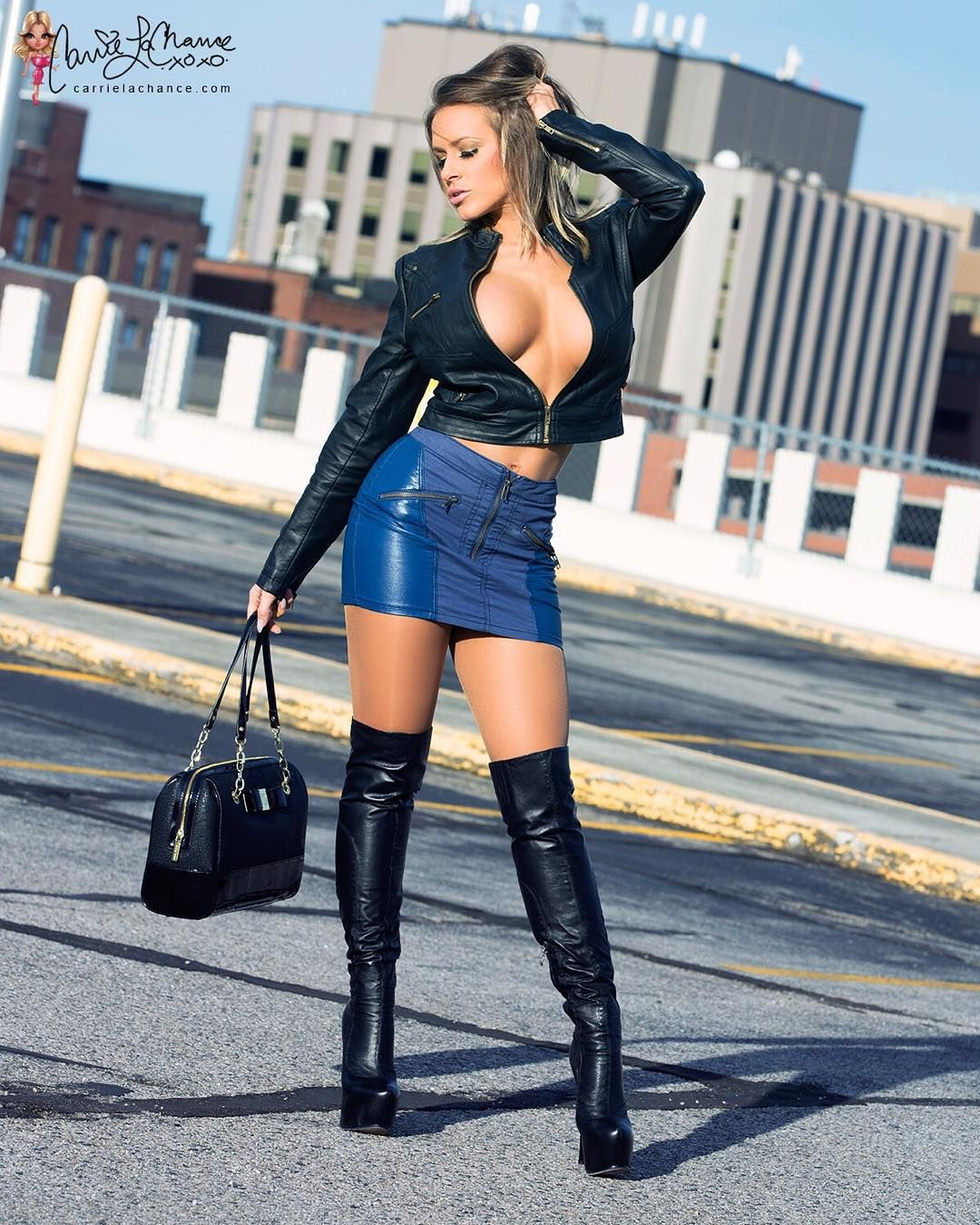 """What is it about leather that is so sexy? . www.carrielachance.com . Boots by @arollo_boots ..."