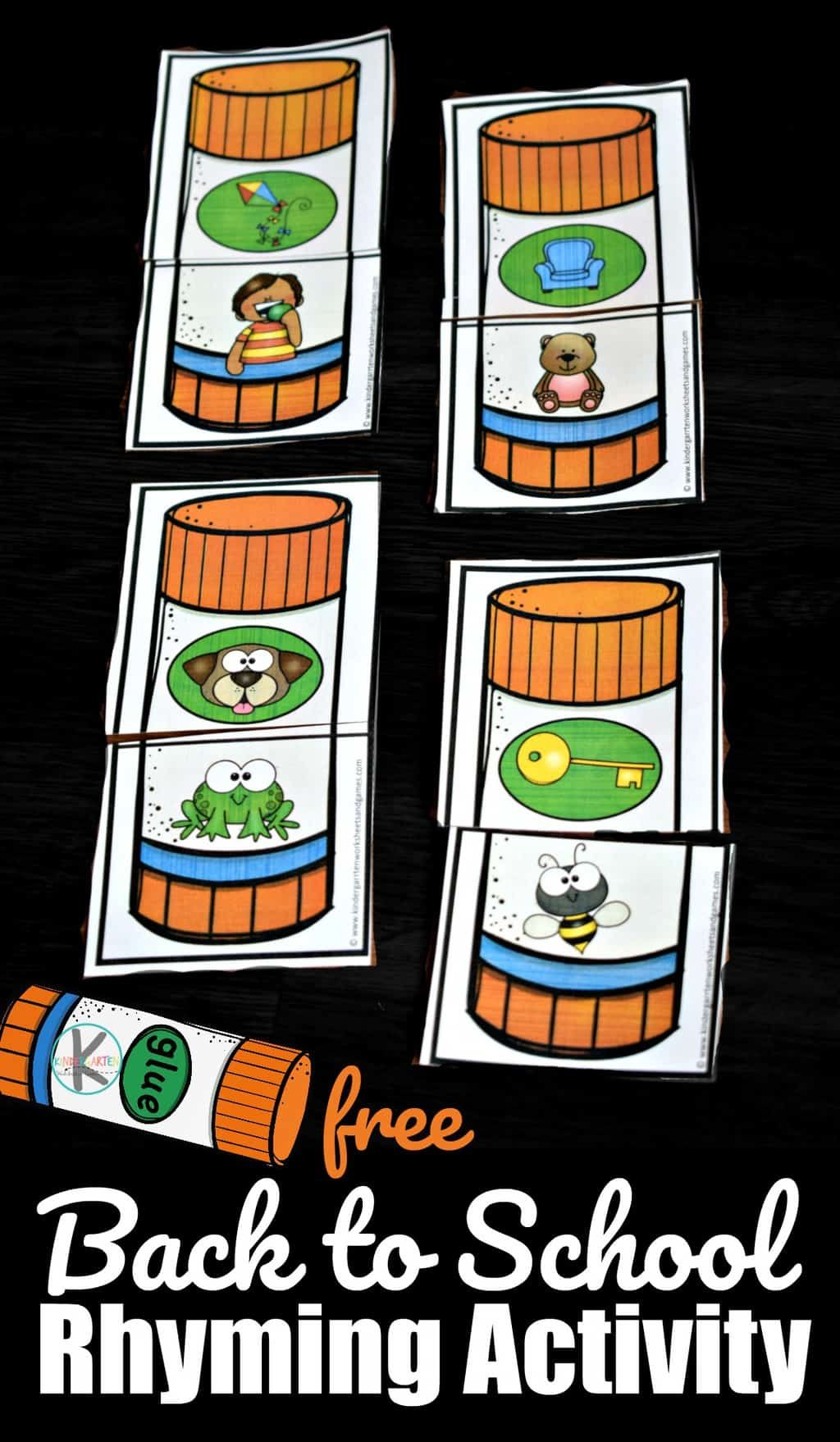 Back To School Rhyming Activity With Images